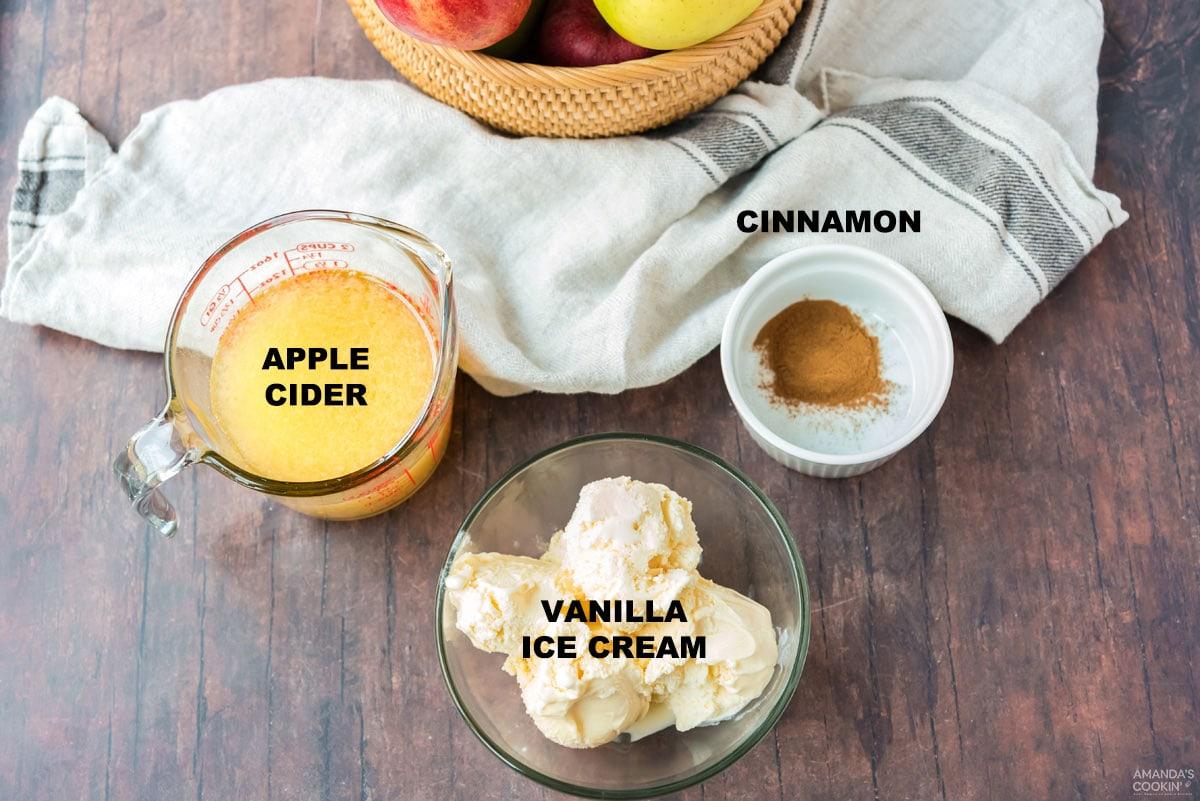 ingredients for apple cider milkshakes
