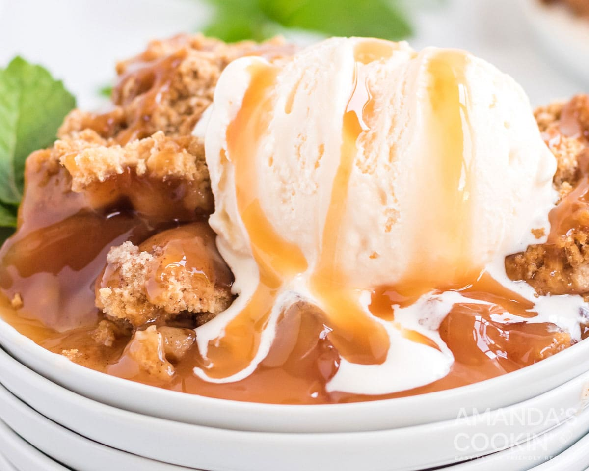 melting ice cream on crockpot apple cobbler with caramel sauce