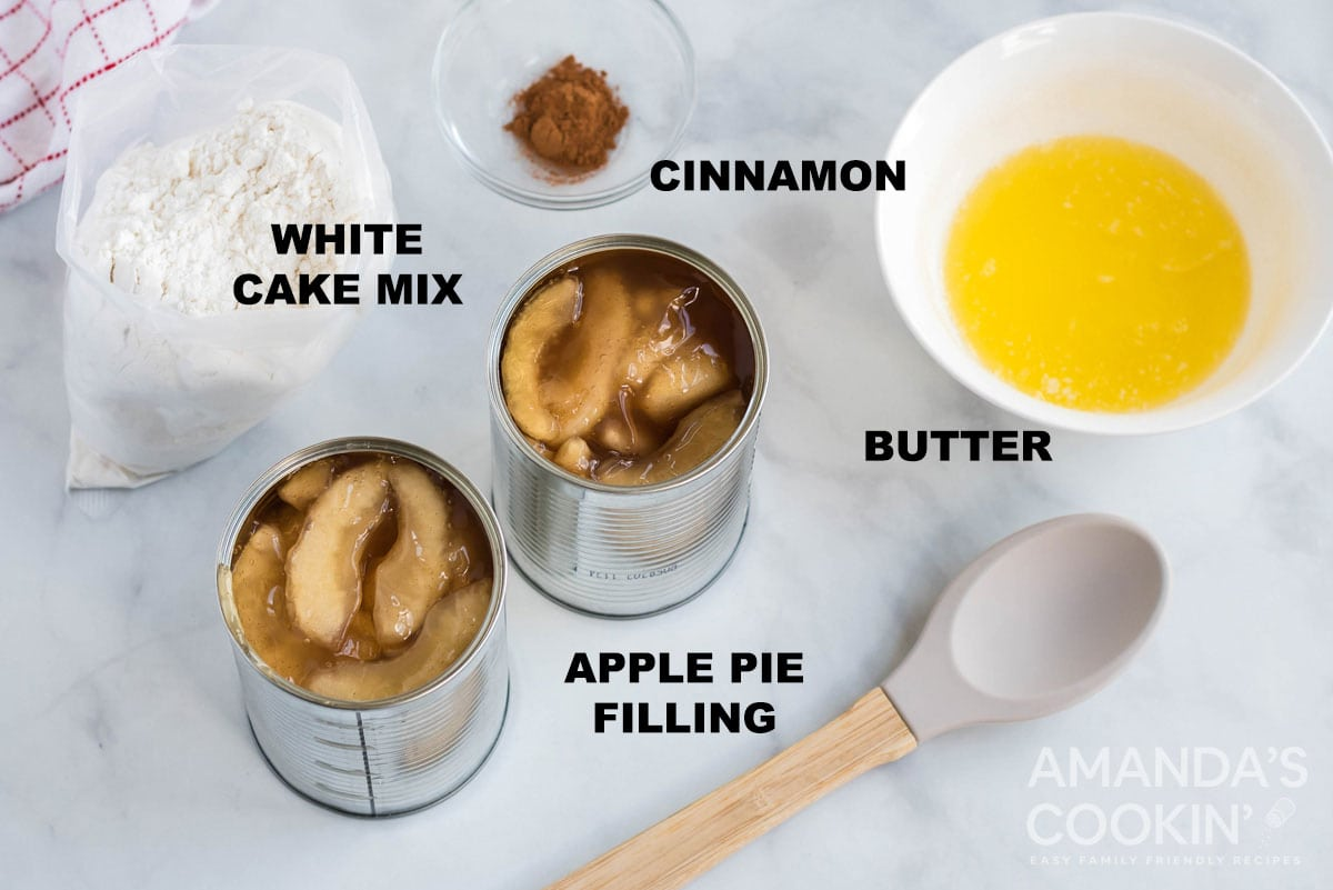 labeled ingredients for apple cobbler in the crockpot