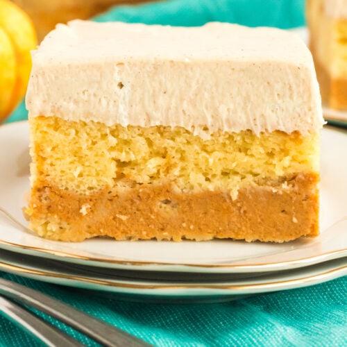 slice of pumpkin magic cake