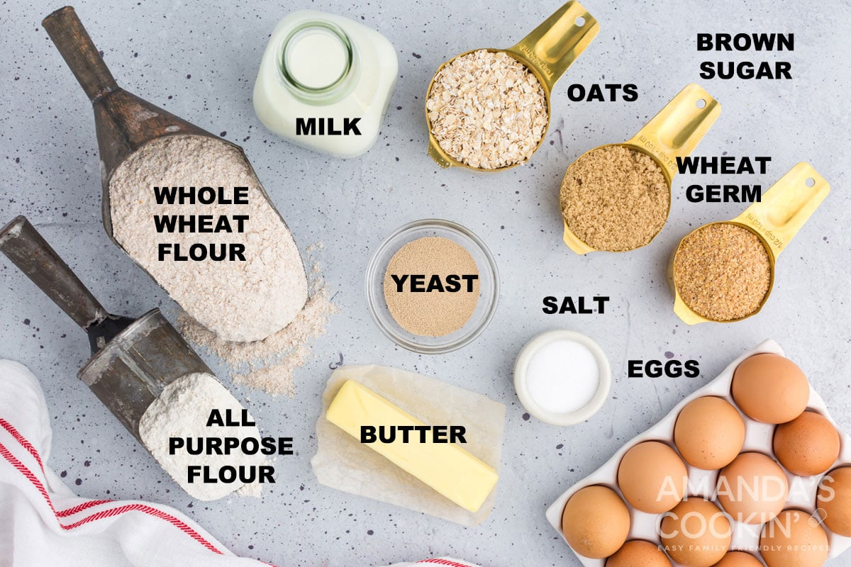 labeled ingredients for multigrain bread