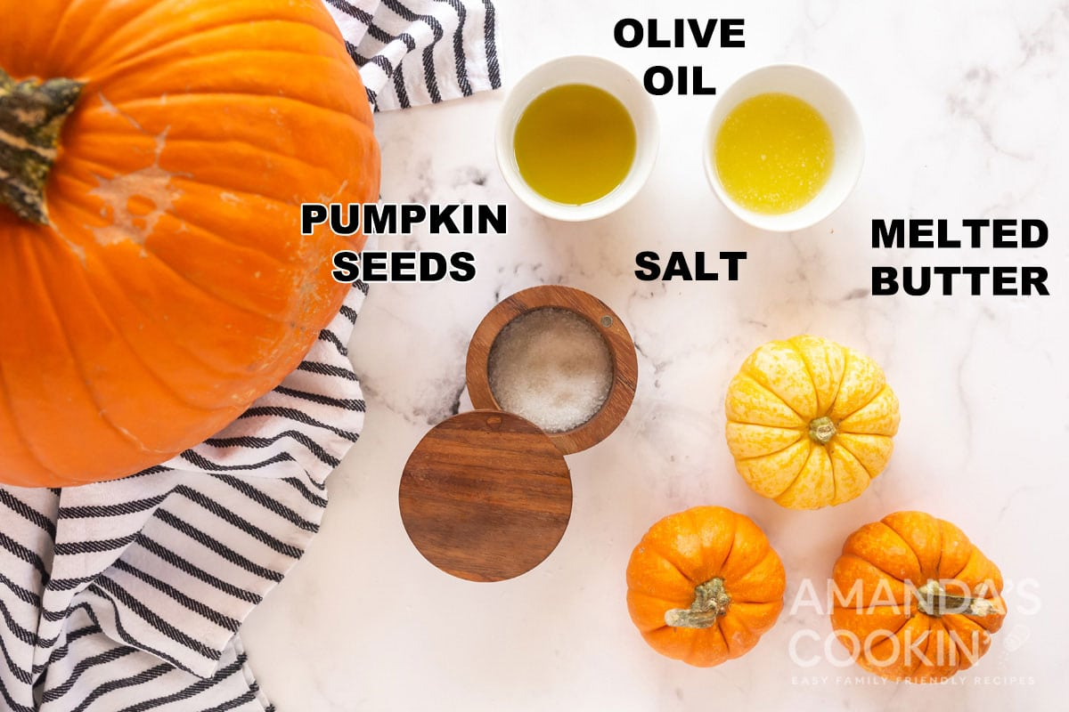 labeled ingredients to make roasted pumpkin seeds