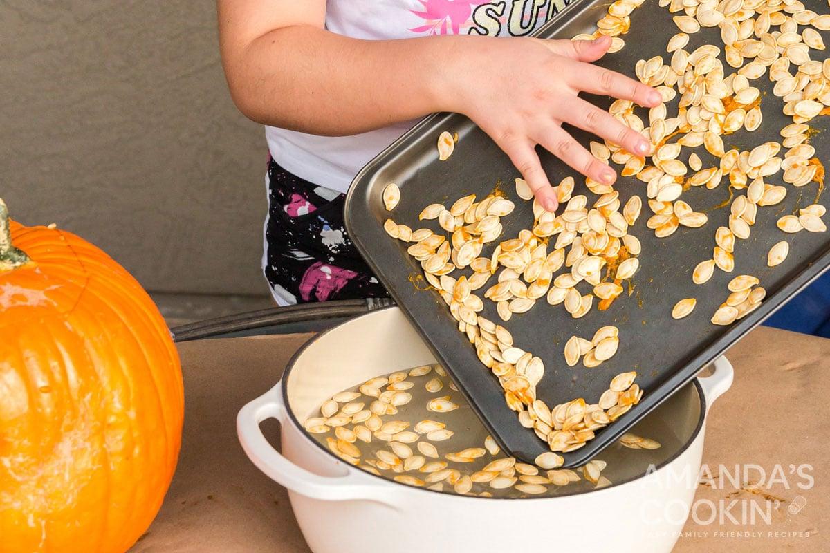 child adding pumpkin seeds to water