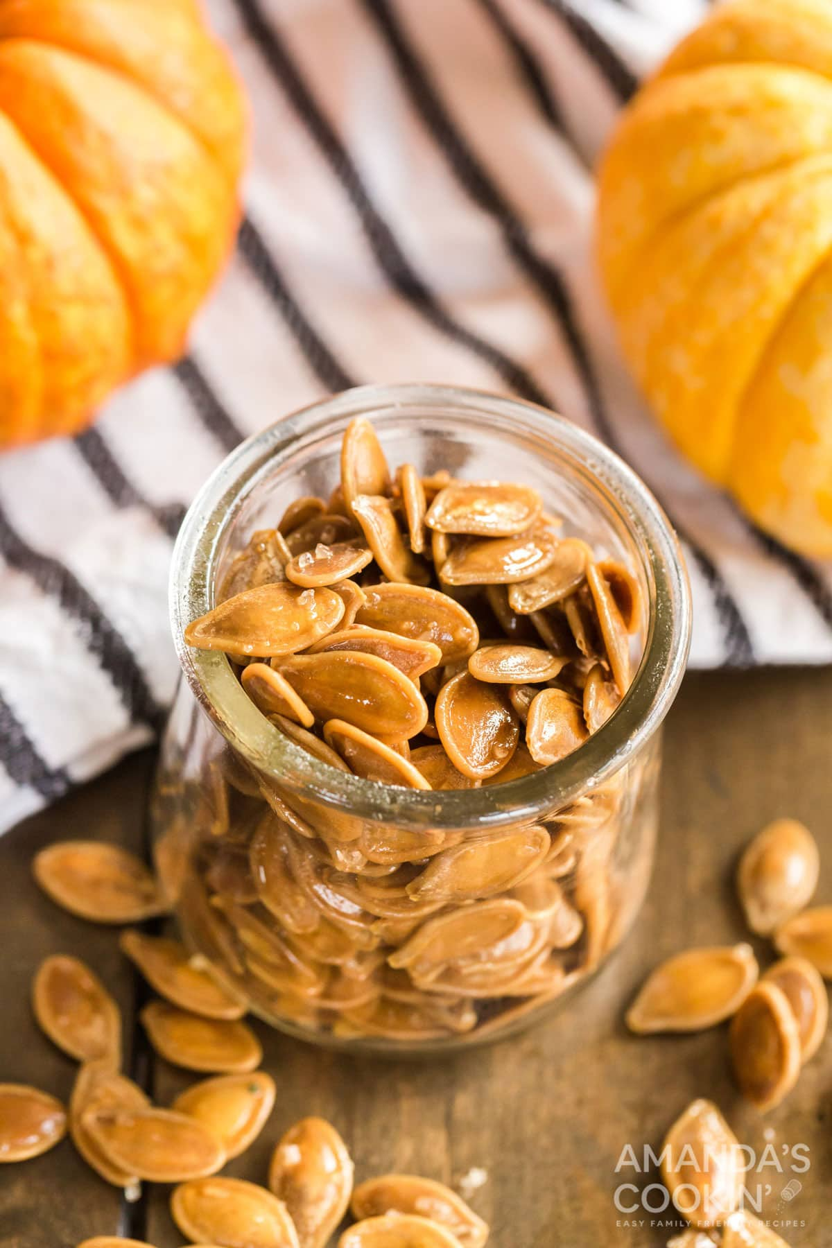jar of roasted pumpkin seeds