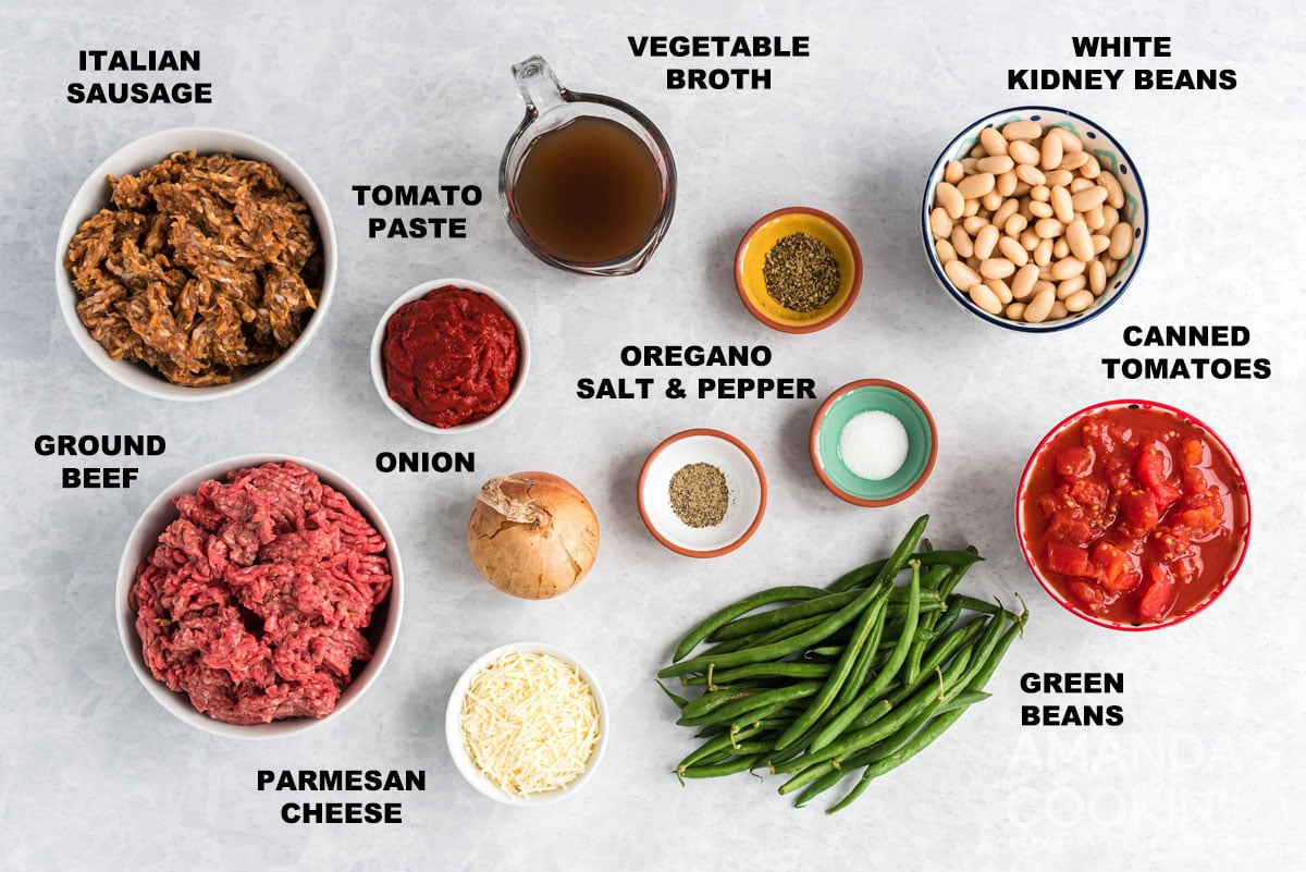 labeled ingredients for hamburger stew