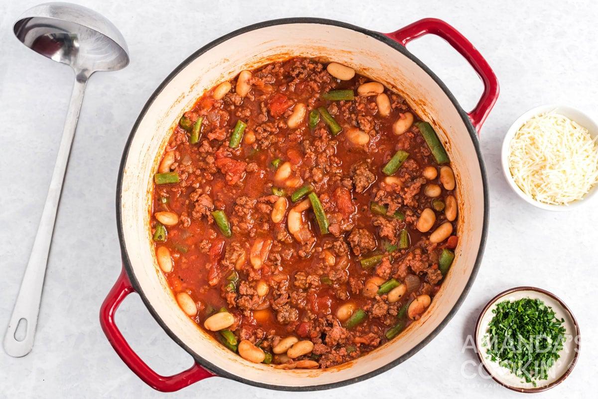 pot of hamburger stew