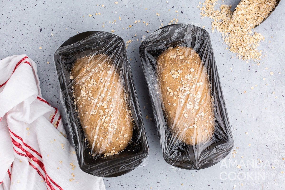 plastic wrap covered loaf pans