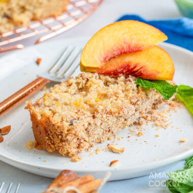 slice of peach bread with fork