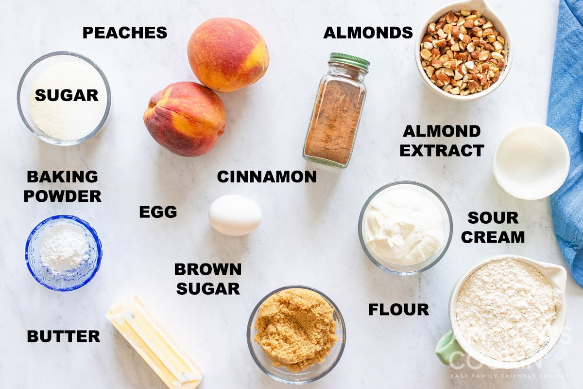labeled ingredients for peach bread