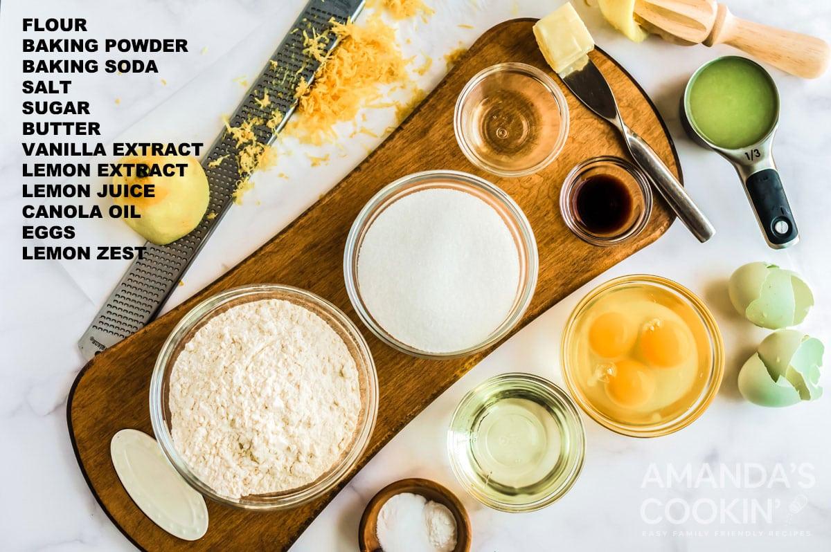 labeled ingredients for starbucks lemon loaf