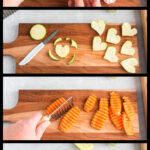 vegetables being cut on a board