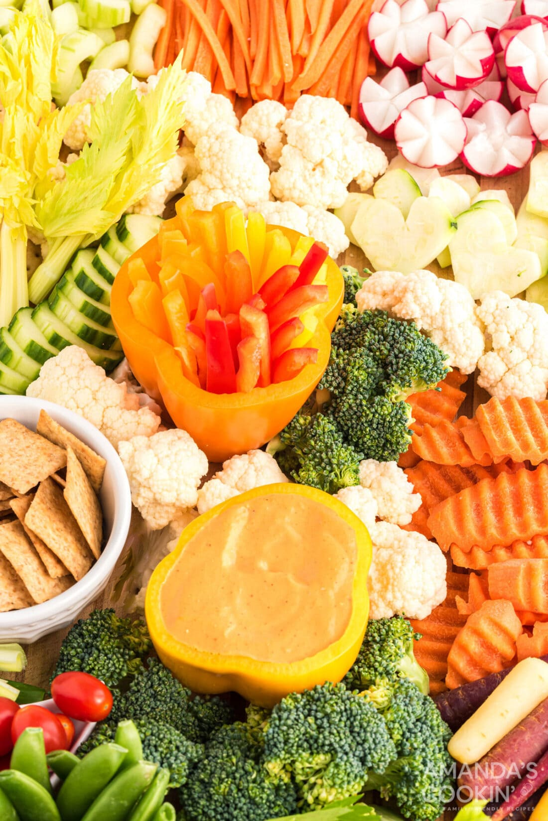 display of cut vegetables