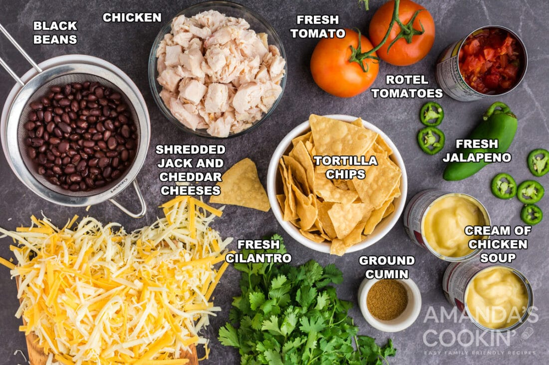 labeled ingredients for mexican chicken casserole
