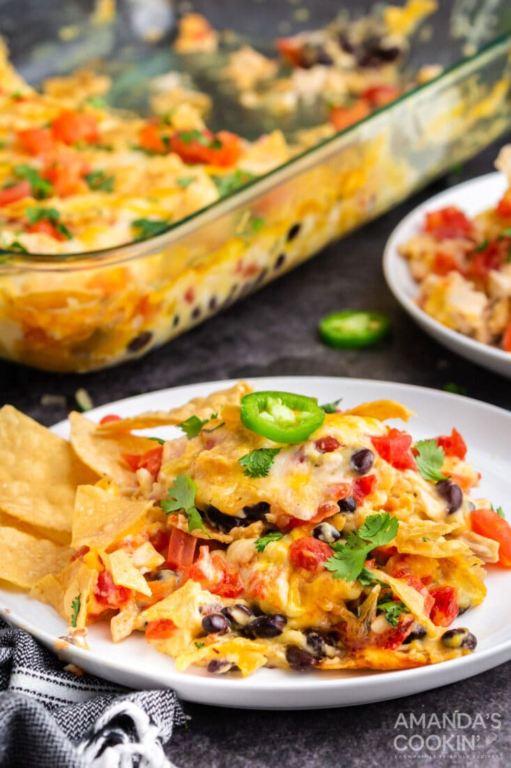 plate of mexican chicken casserole
