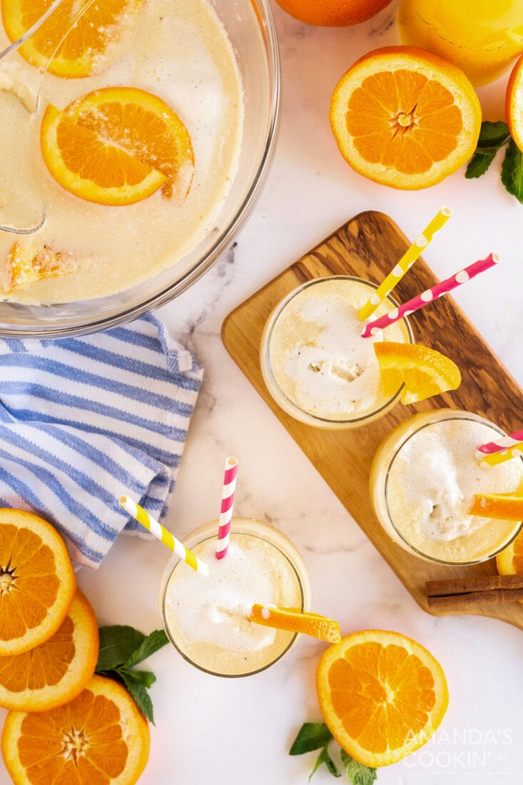 vanilla orange punch in a bowl and in glasses