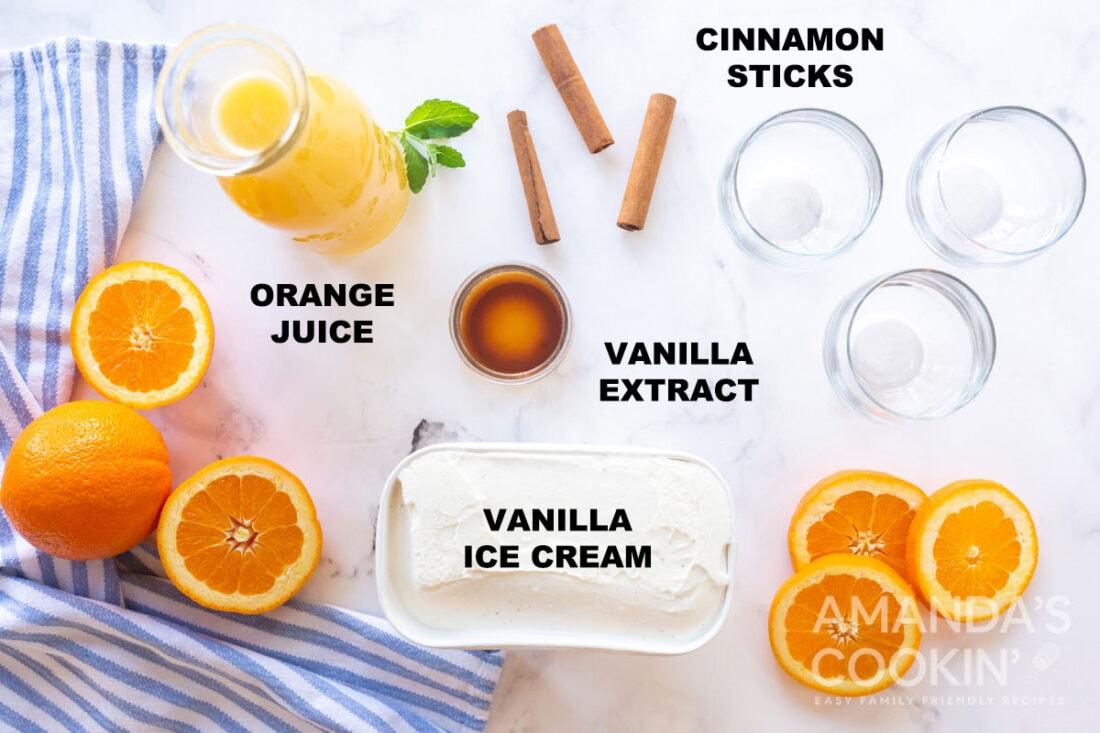 labeled ingredients for vanilla orange punch