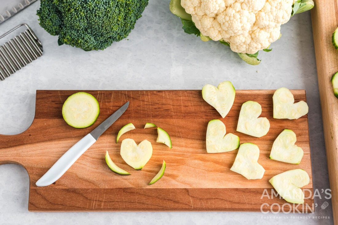 zucchinis cut into hearts