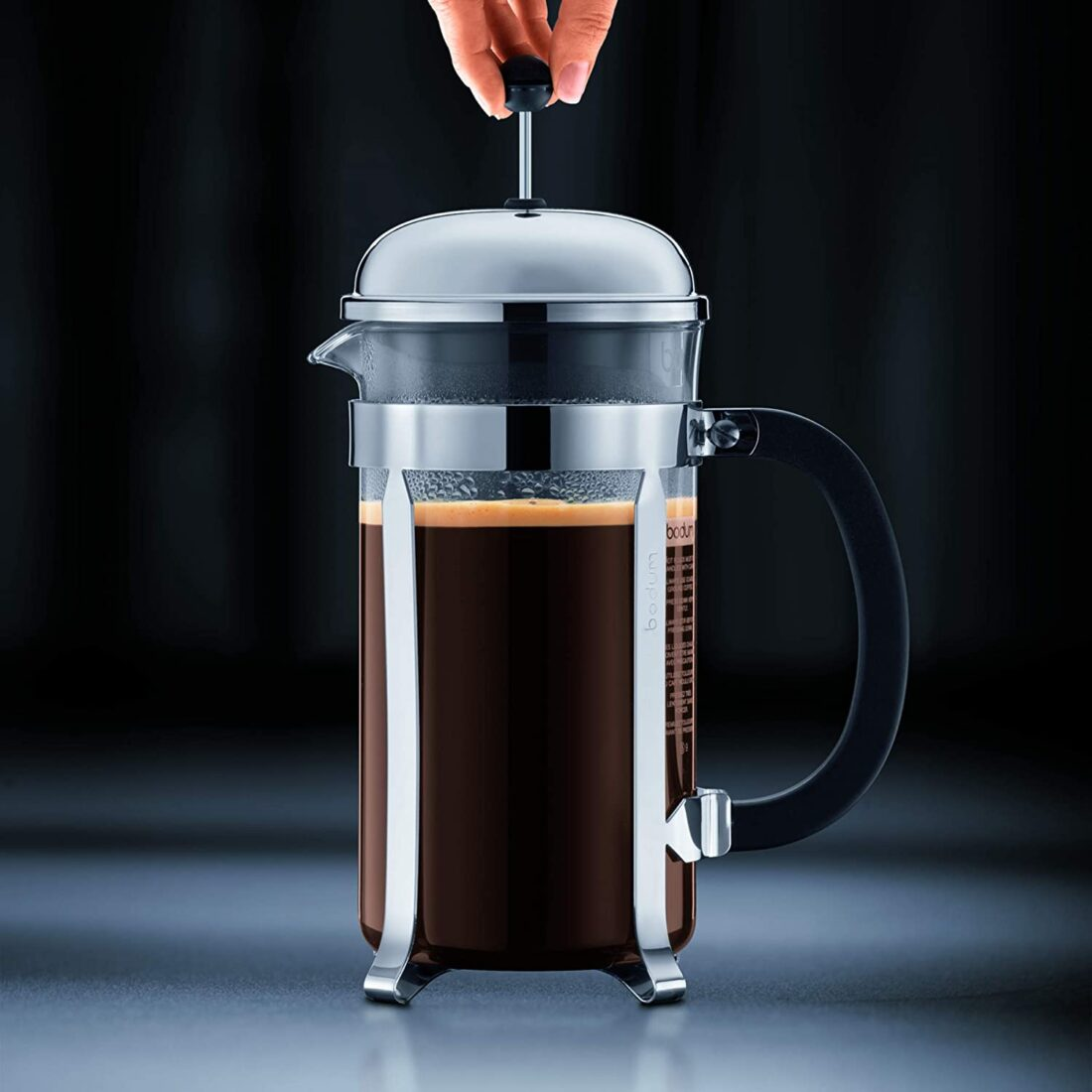 french press with coffee in it