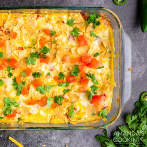 dish of mexican chicken casserole