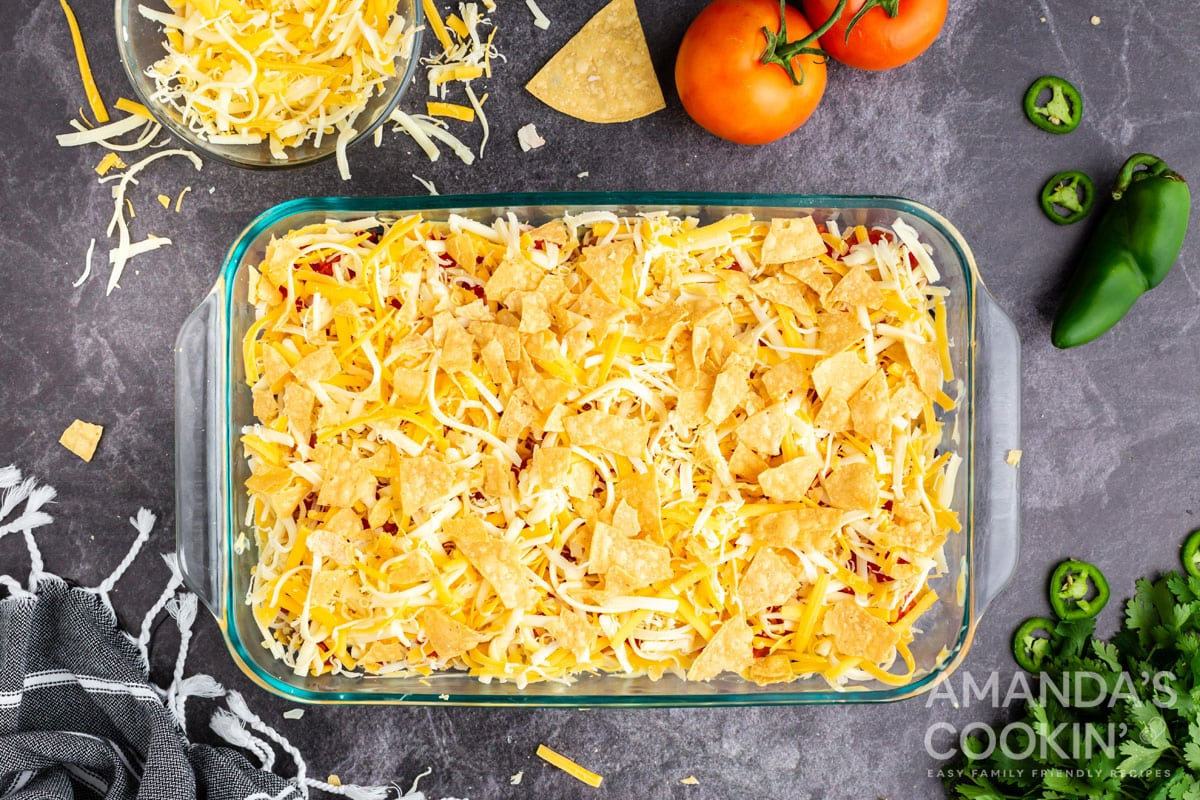 chips and cheese layer in casserole dish
