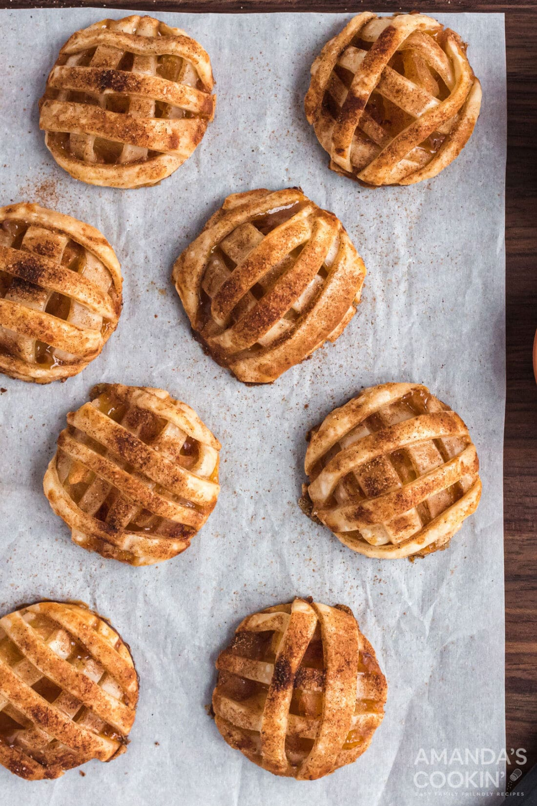 APPLE PIE COOKIES ON PARCHMENT PAPER