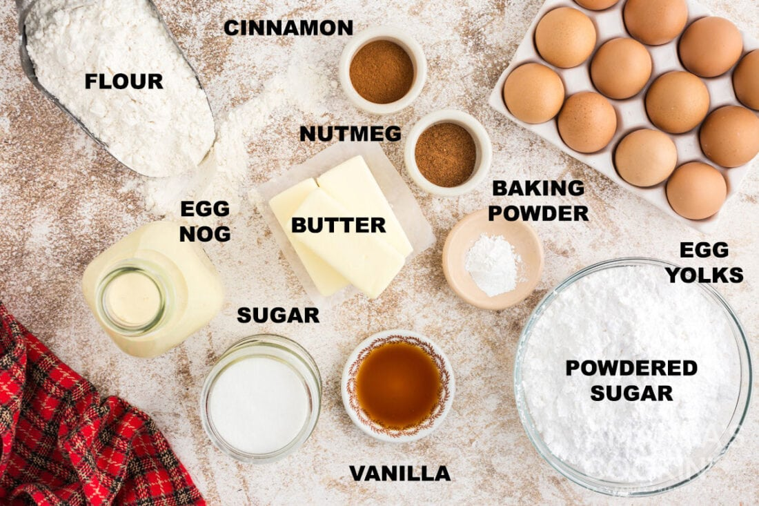 labeled ingredients for eggnog cookies