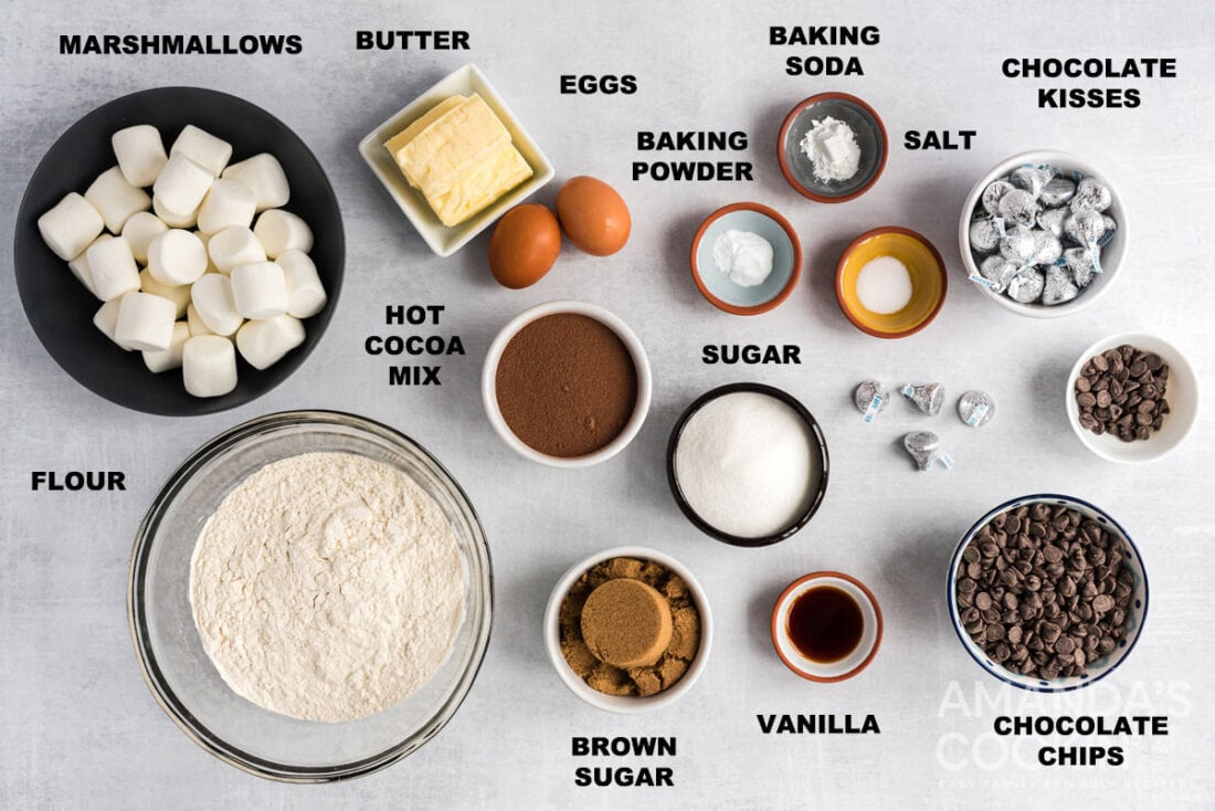 labeled ingredients for hot cocoa cookies