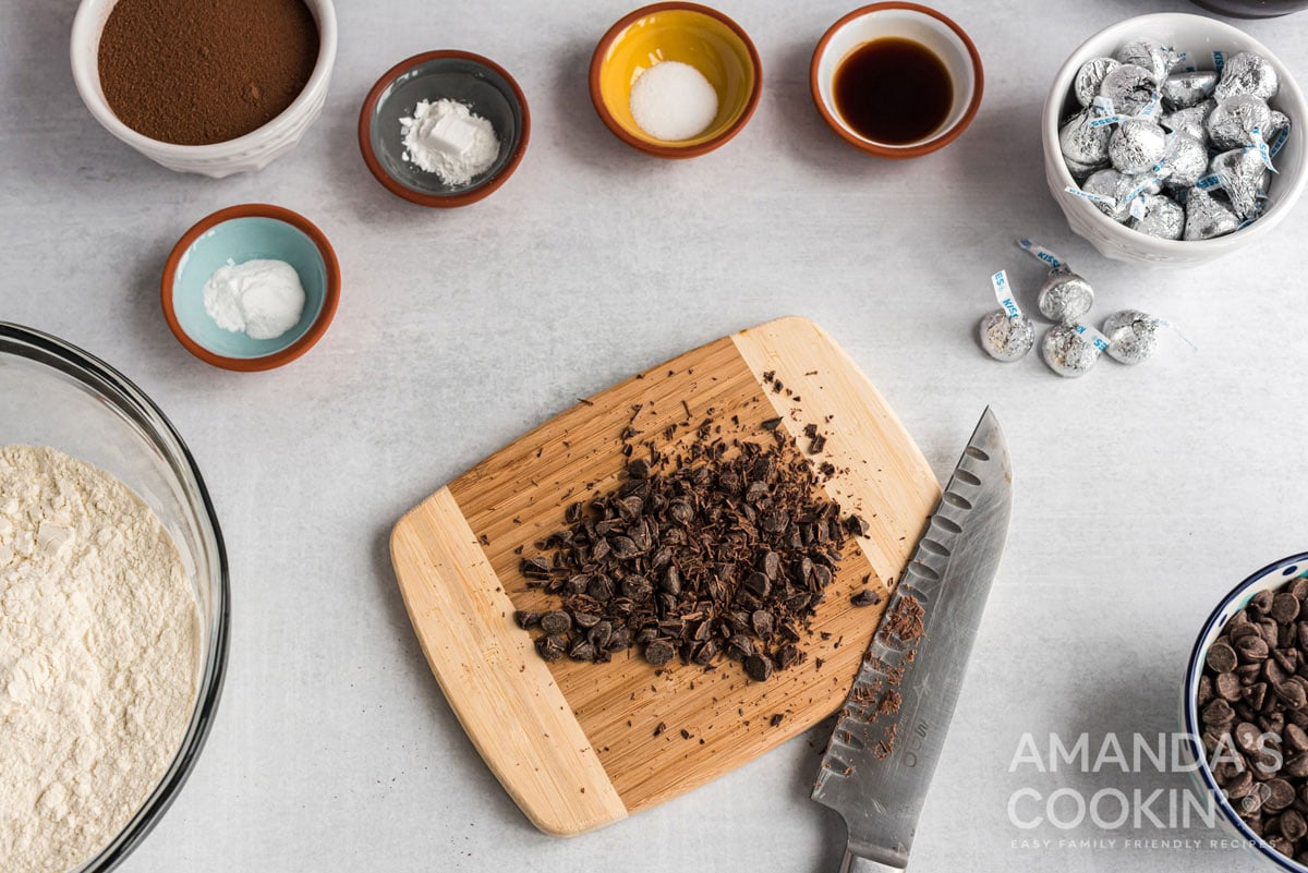 chopped chocolate on cutting board