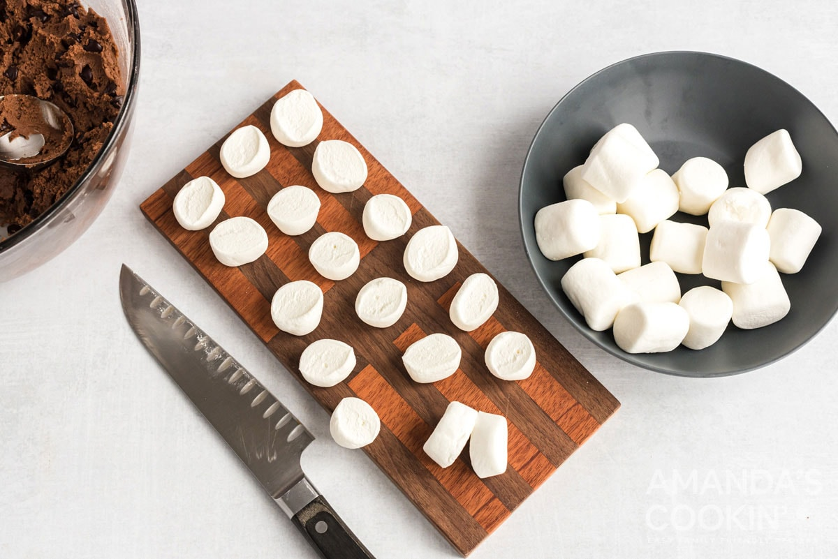 marshmallows on a cutting board