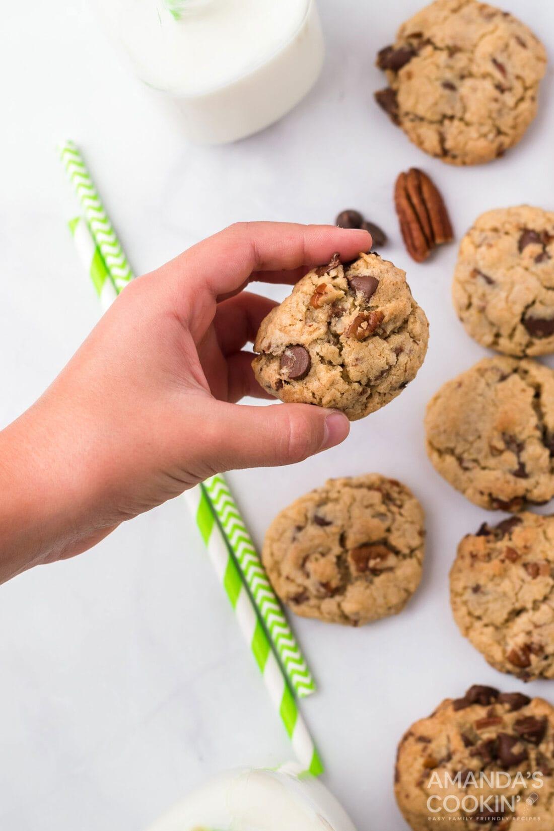 hand holding neiman marcus cookie