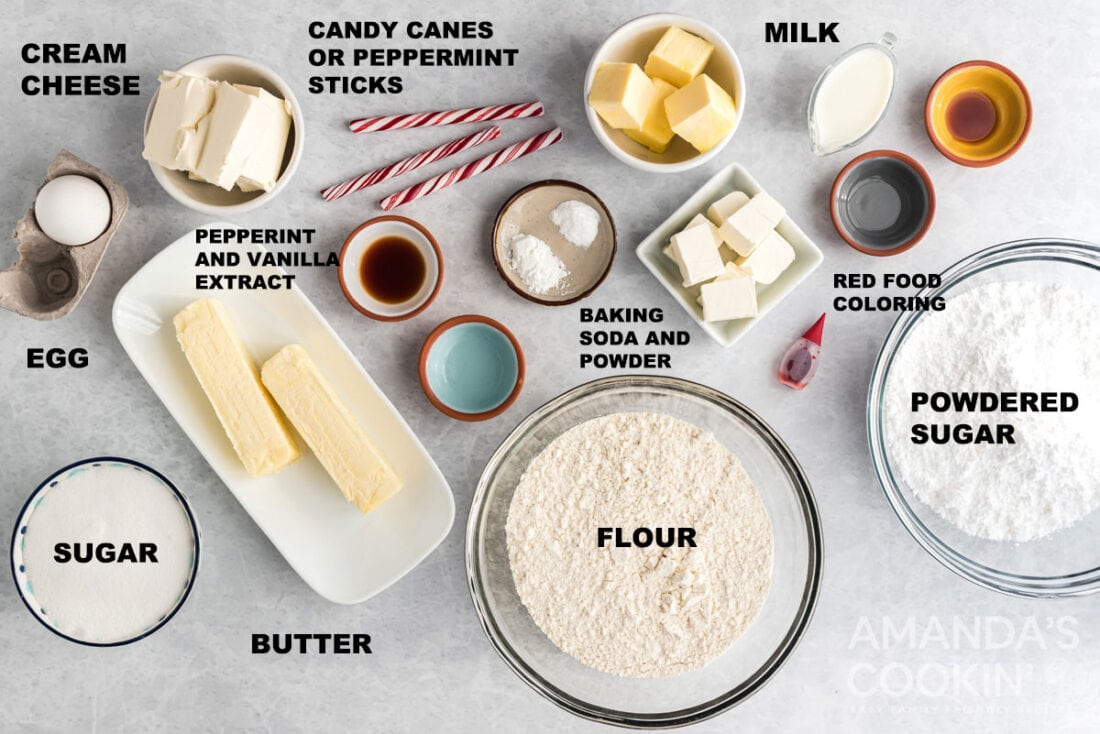 labeled ingredients for peppermint cookies