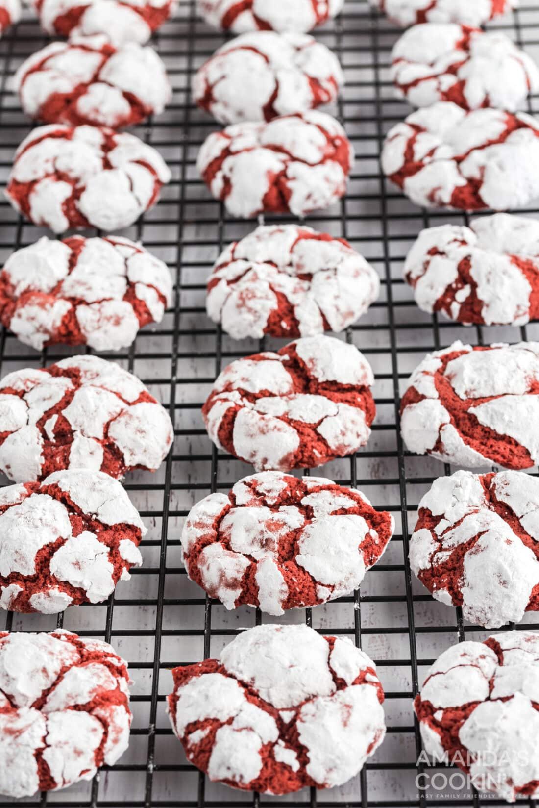 wire rack of red velvet crinkle cookies