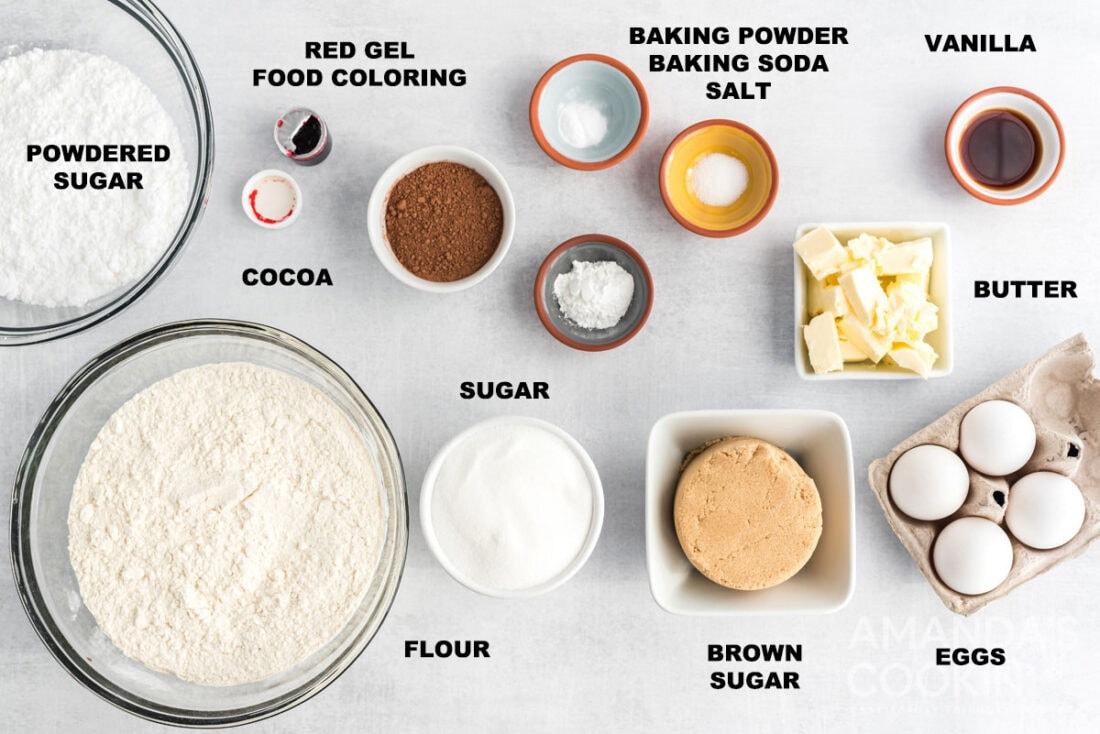 labeled ingredients for red velvet crinkle cookies