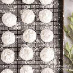 snowball cookies on a wire rack