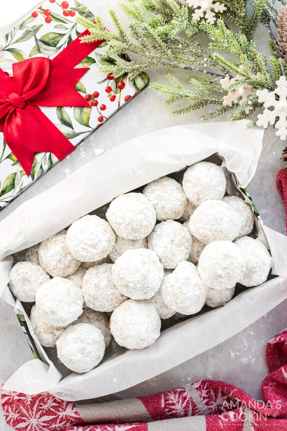 snowball cookies in a box