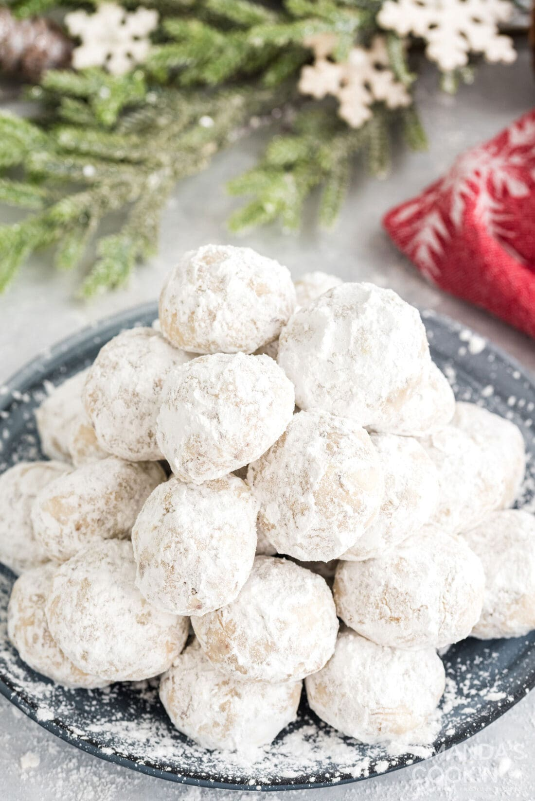 snowball cookies on a plate
