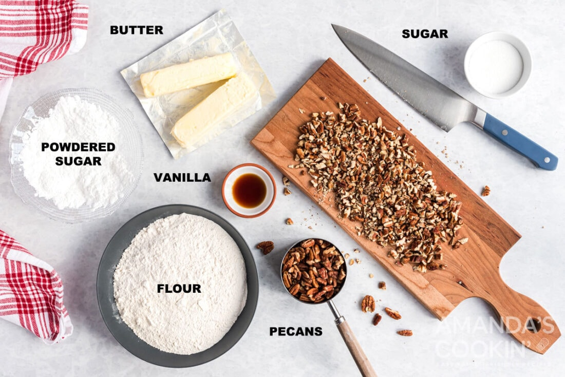 labeled ingredients for snowball cookies