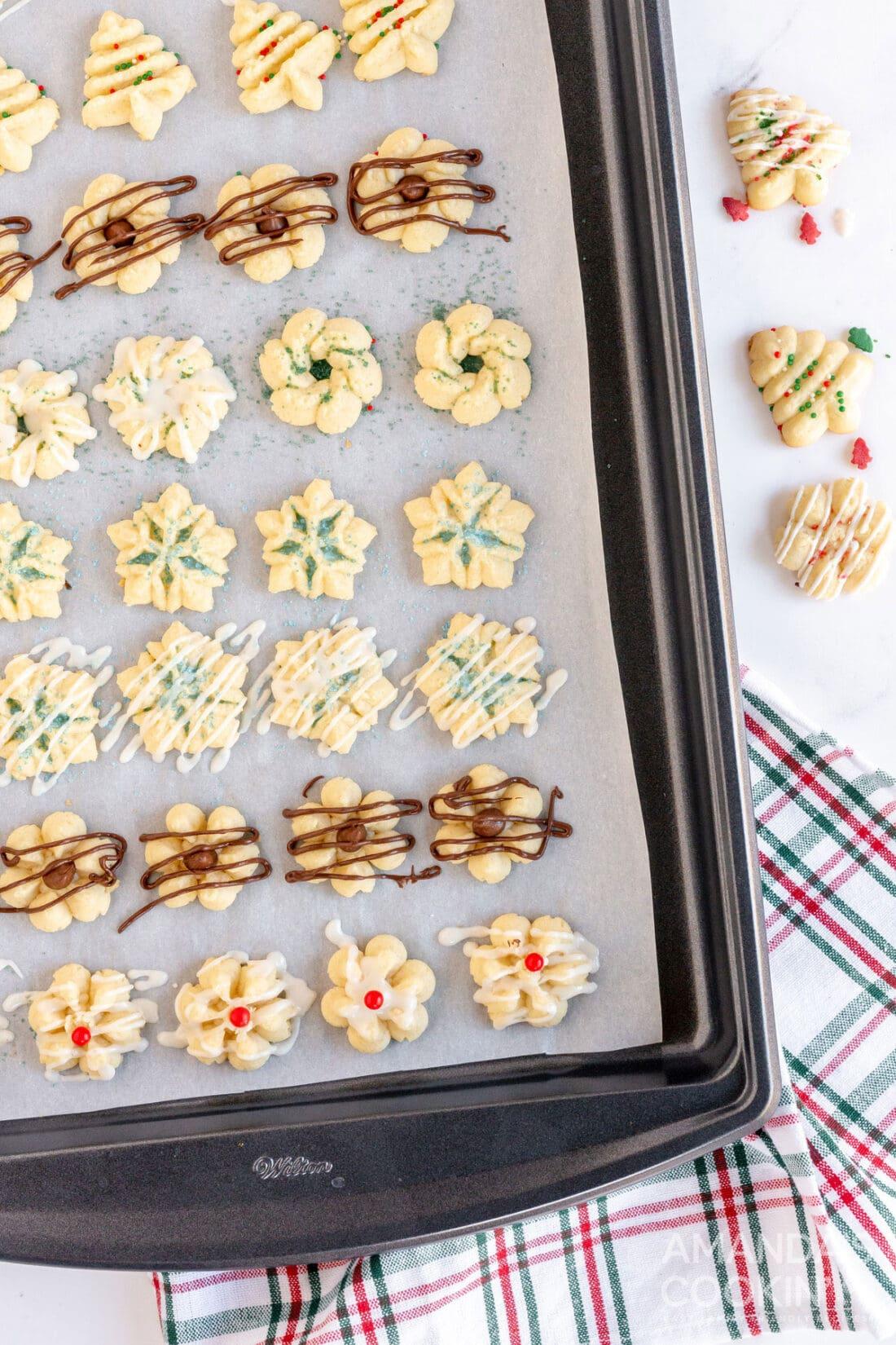 baking sheet of spritz cookies