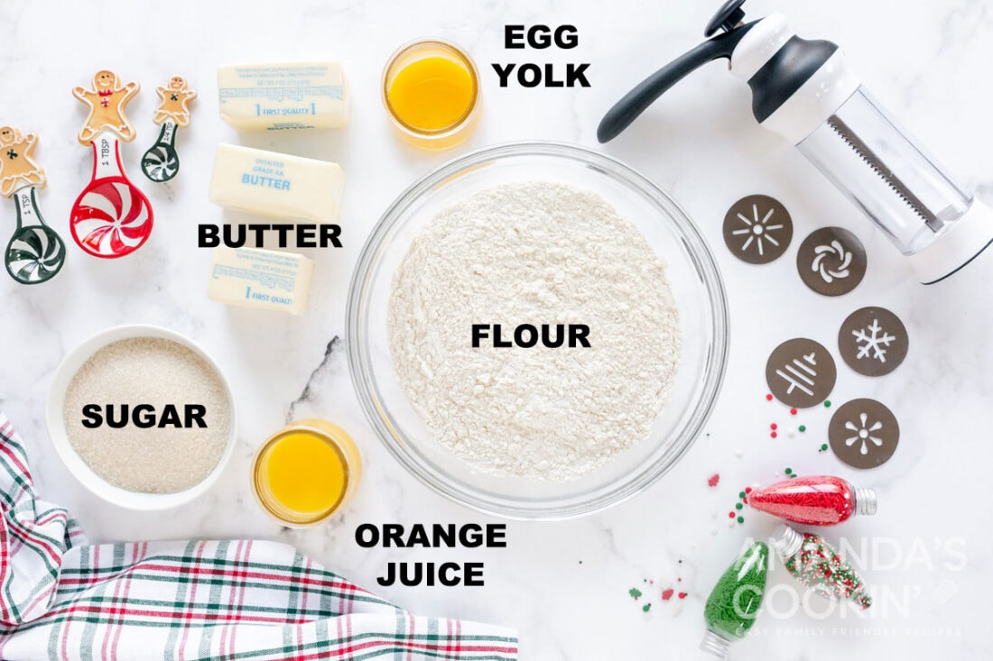 labeled ingredients for spritz cookies