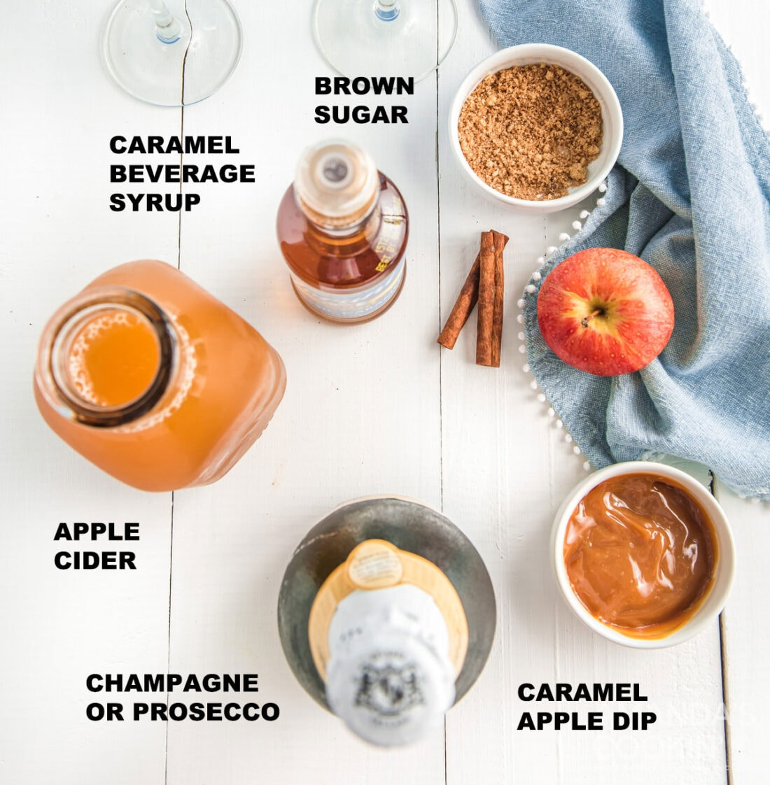 labeled ingredients for caramel apple mimosas