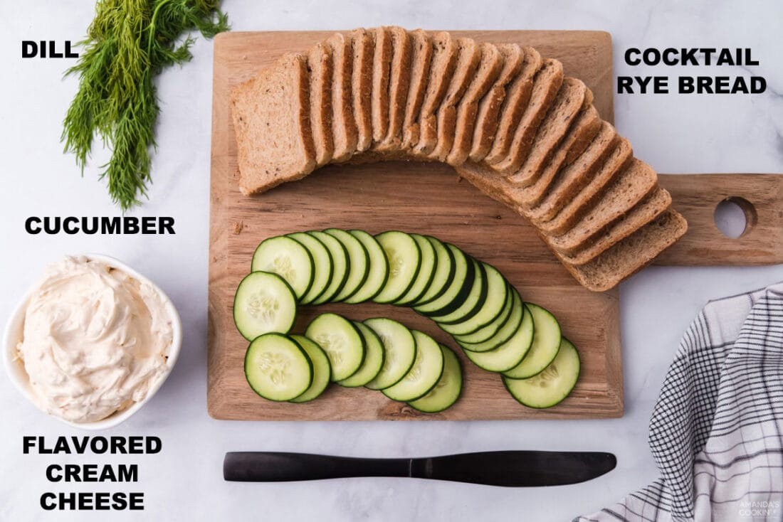 labeled ingredients for mini cucumber sandwiches