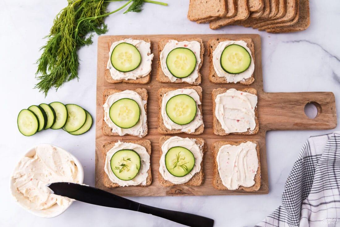 making mini cucumber sandwiches