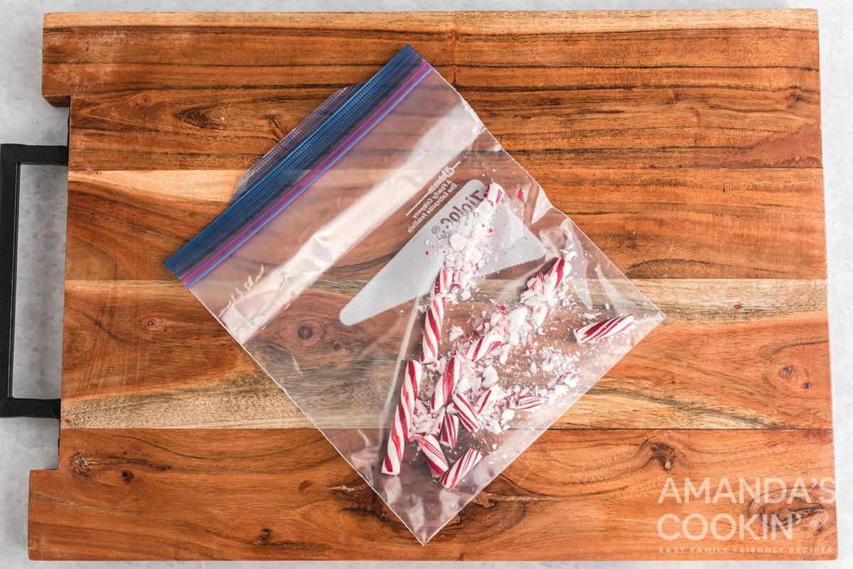 crushed candy canes in a plastic bag