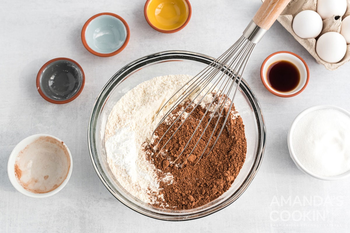 whisking cocoa and flour
