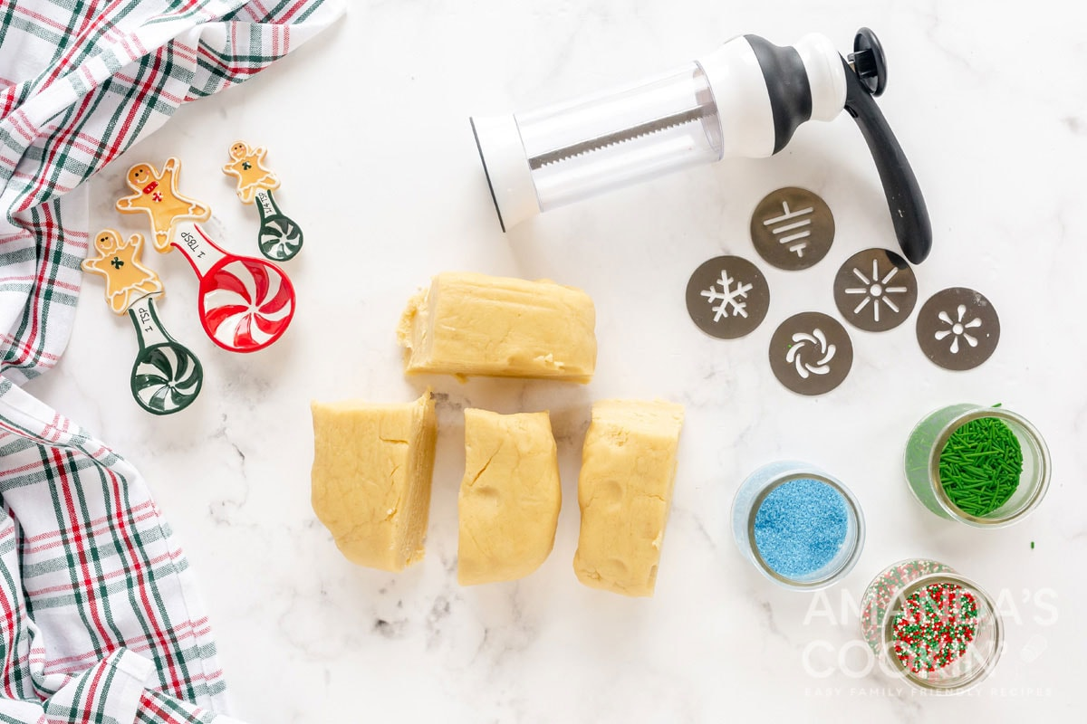 cookie dough cut into pieces