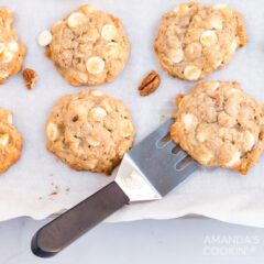 banana cookies and a spatula