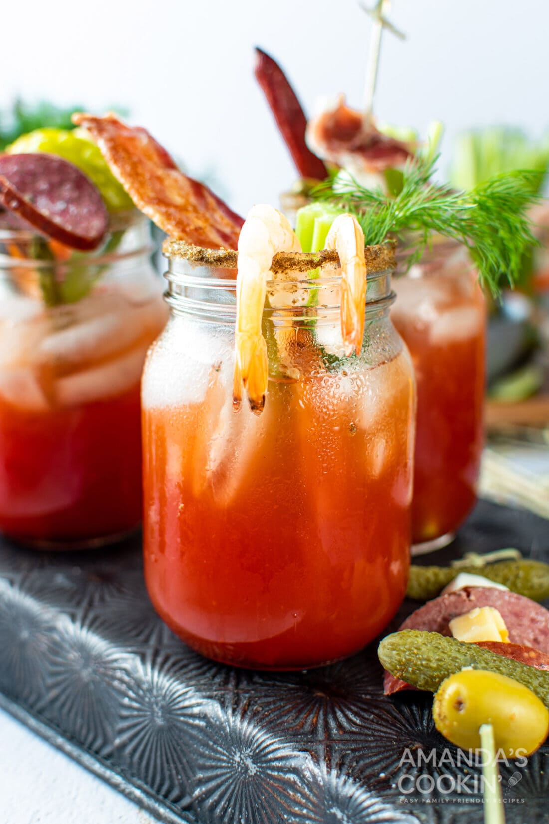 bloody mark drink with bacon and shrimp