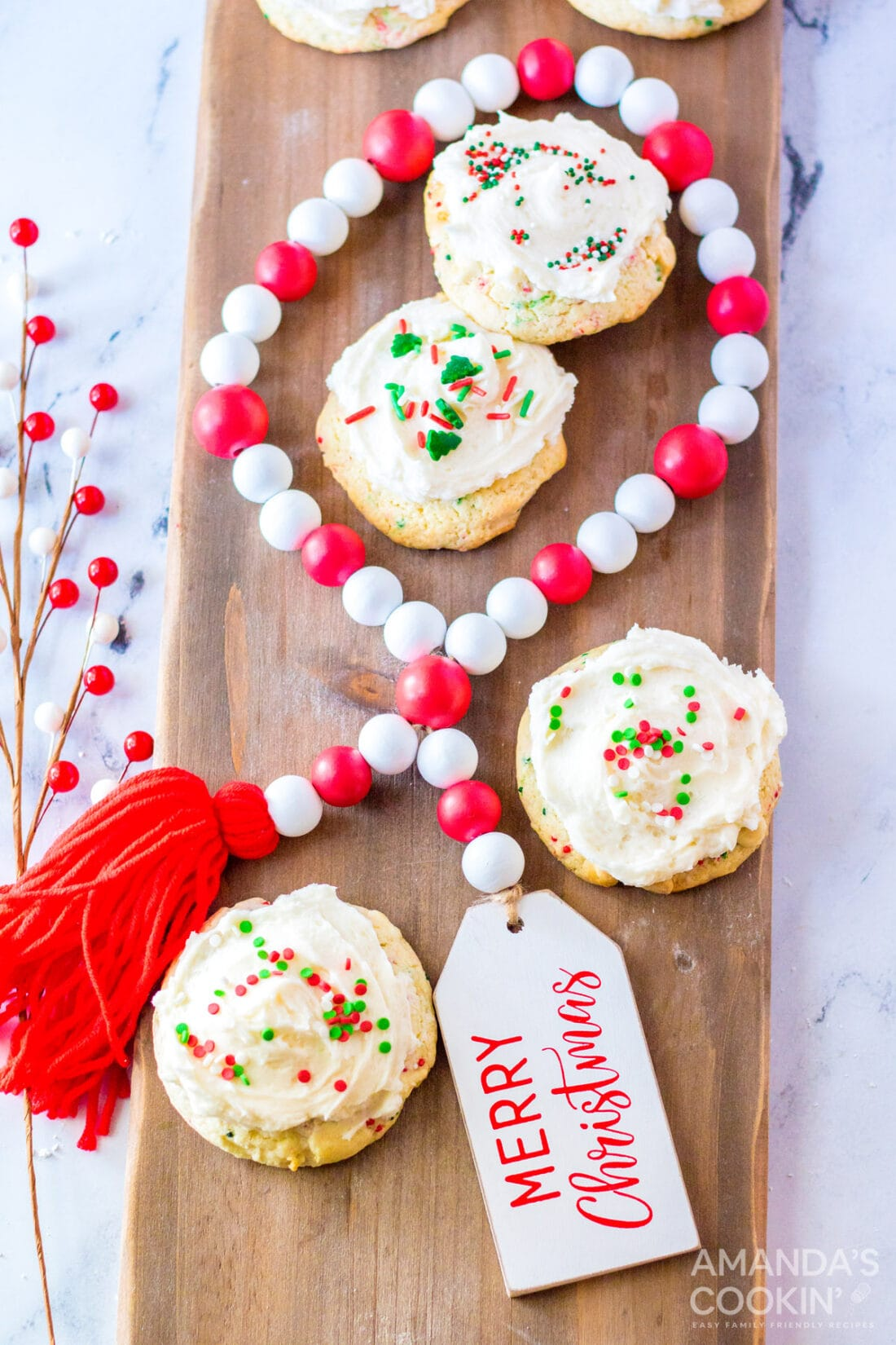 frosted cake mix cookies on cutting board