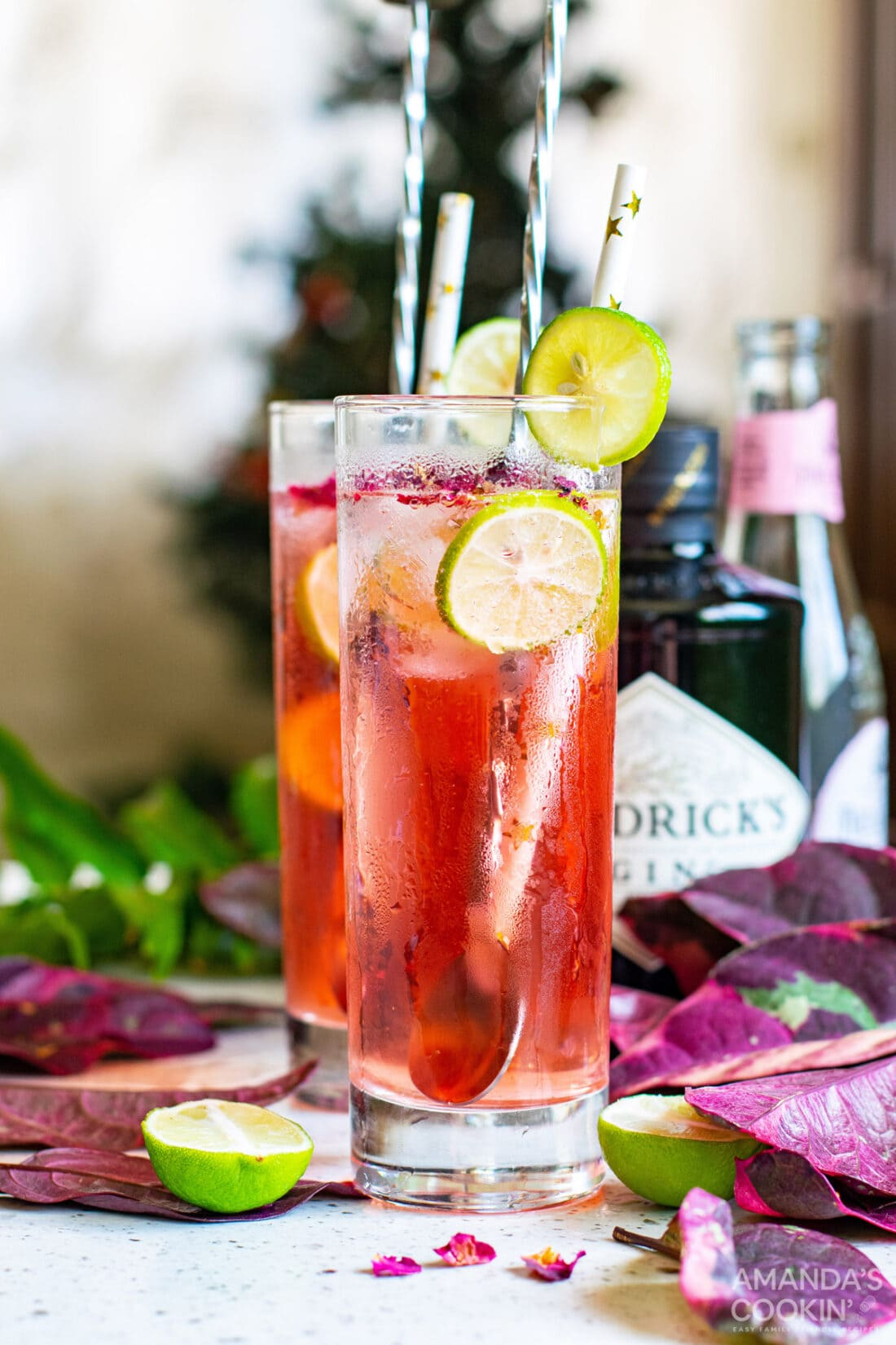 Pink Gin & Tonic in glasses with lime wedges