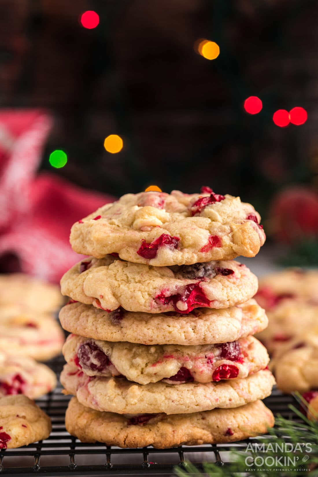 stack of White Chocolate Cranberry Cookies
